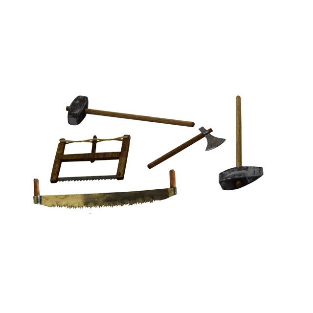Lot outils bûcheron pour santon