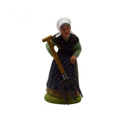 bêche fourche avec santon