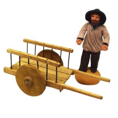 charrette a roues pleines avec santon