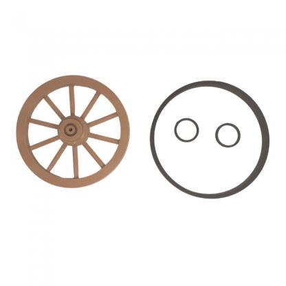 lot roues 50 mm double moyeu avec cercle