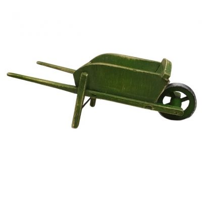 brouette miniature à ridelles verte usée pour santon