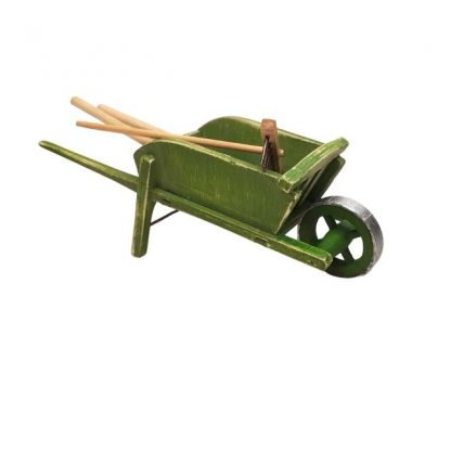 brouette miniature verte avec outils